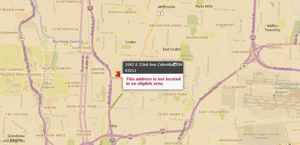 USDA Loan Eligiblity Map - 1042 E 22nd Ave, Columbus, OH 43211