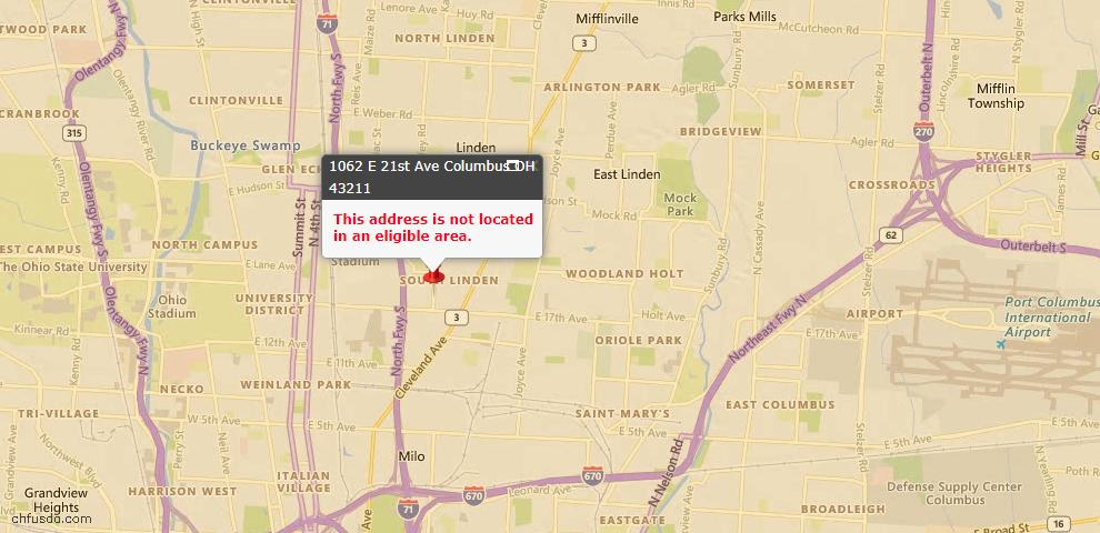 USDA Loan Eligiblity Map - 1062 E 21st Ave, Columbus, OH 43211
