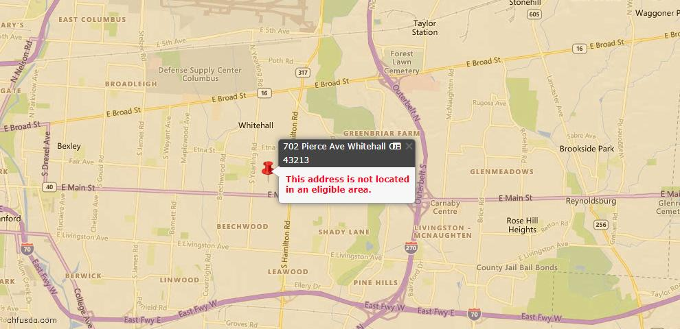 USDA Loan Eligiblity Maps From - Whitehall, OH