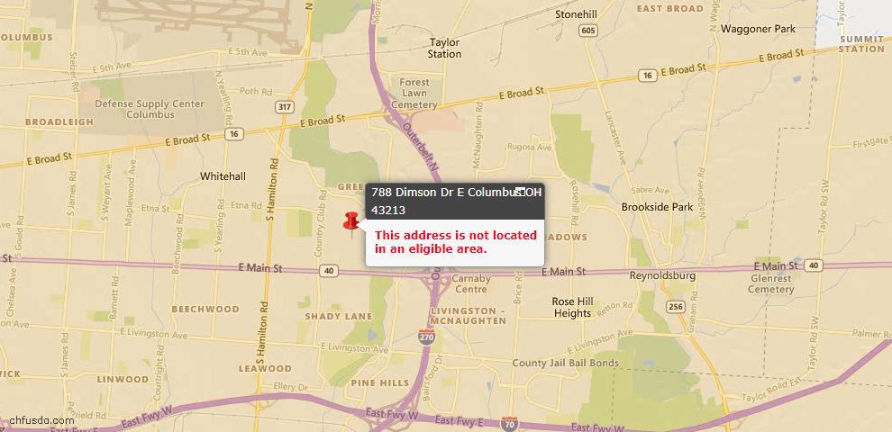 USDA Loan Eligiblity Map - 788 Dimson Dr E, Columbus, OH 43213