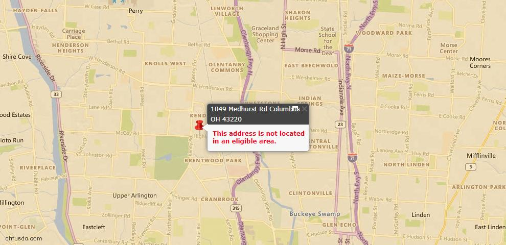 USDA Loan Eligiblity Map - 1049 Medhurst Rd, Columbus, OH 43220