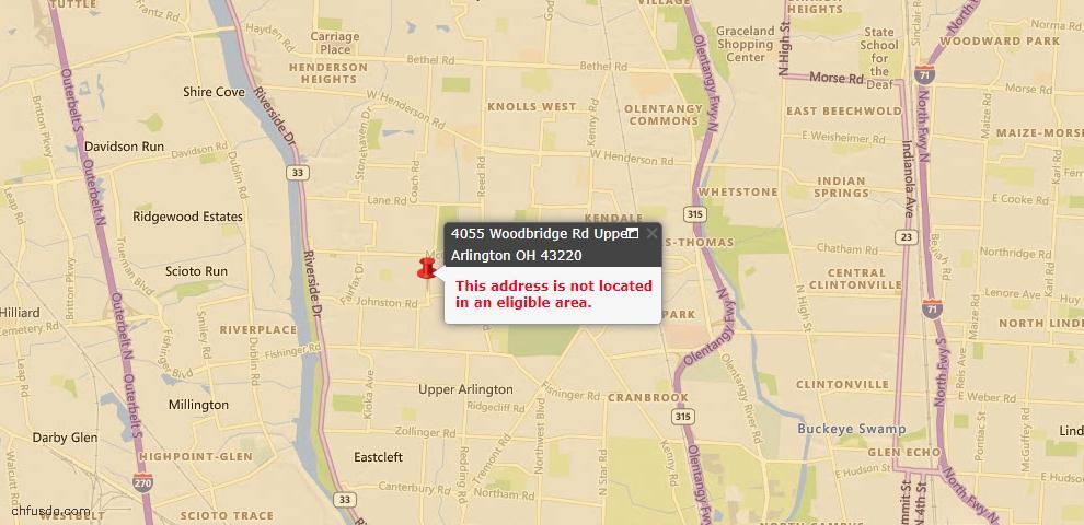 USDA Loan Eligiblity Map - 4055 Woodbridge Rd, Upper Arlington, OH 43220