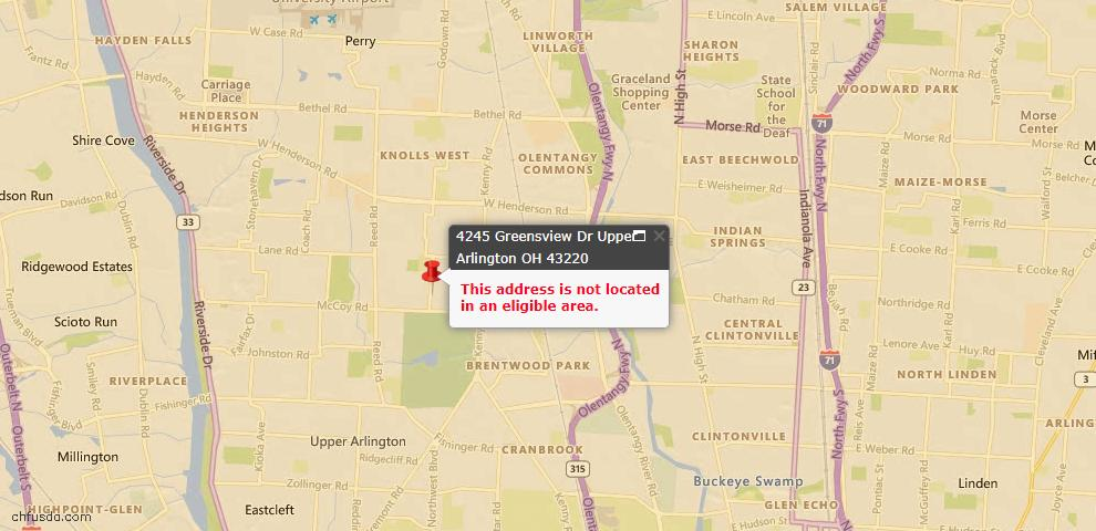 USDA Loan Eligiblity Maps From - Upper Arlington, OH