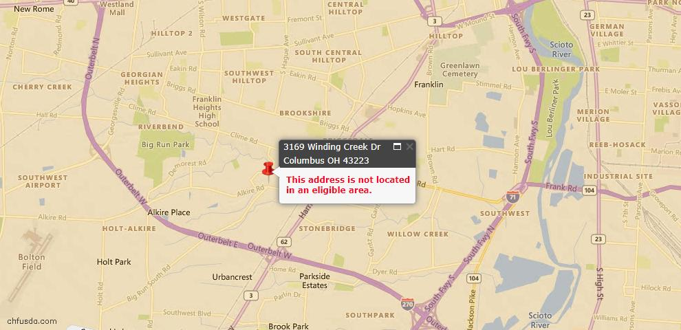 USDA Loan Eligiblity Map - 3169 Winding Creek Dr, Columbus, OH 43223