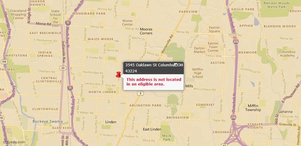 USDA Loan Eligiblity Map - 3545 Oaklawn St, Columbus, OH 43224
