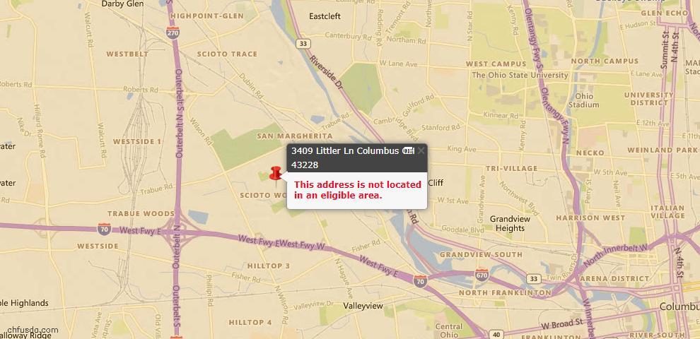 USDA Loan Eligiblity Map - 3409 Littler Ln, Columbus, OH 43228