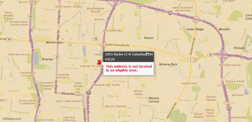 USDA Loan Eligiblity Maps From - Columbus, OH