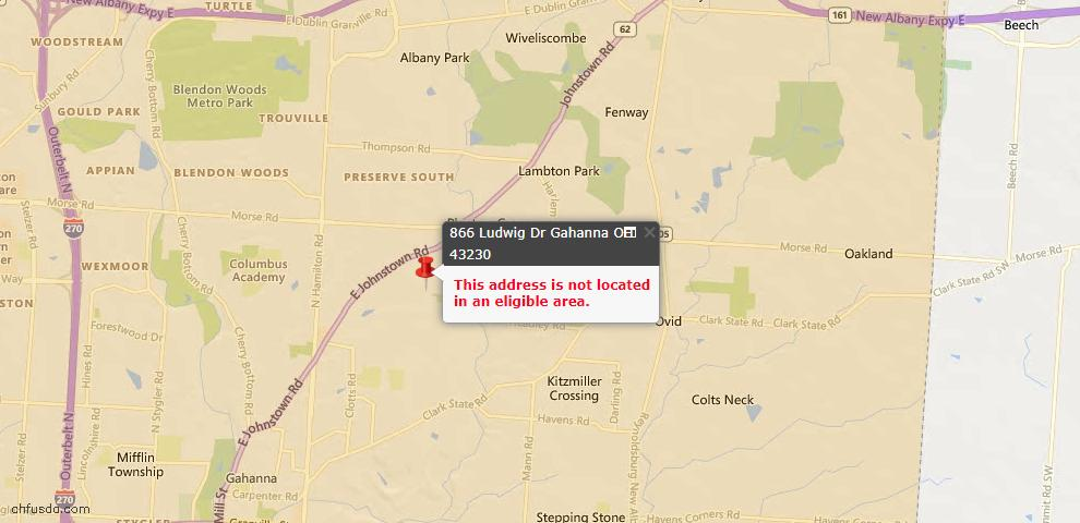 USDA Loan Eligiblity Maps From - Gahanna, OH