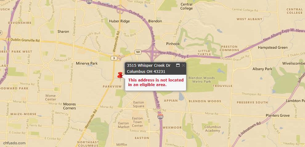 USDA Loan Eligiblity Map - 3515 Whisper Creek Dr, Columbus, OH 43231