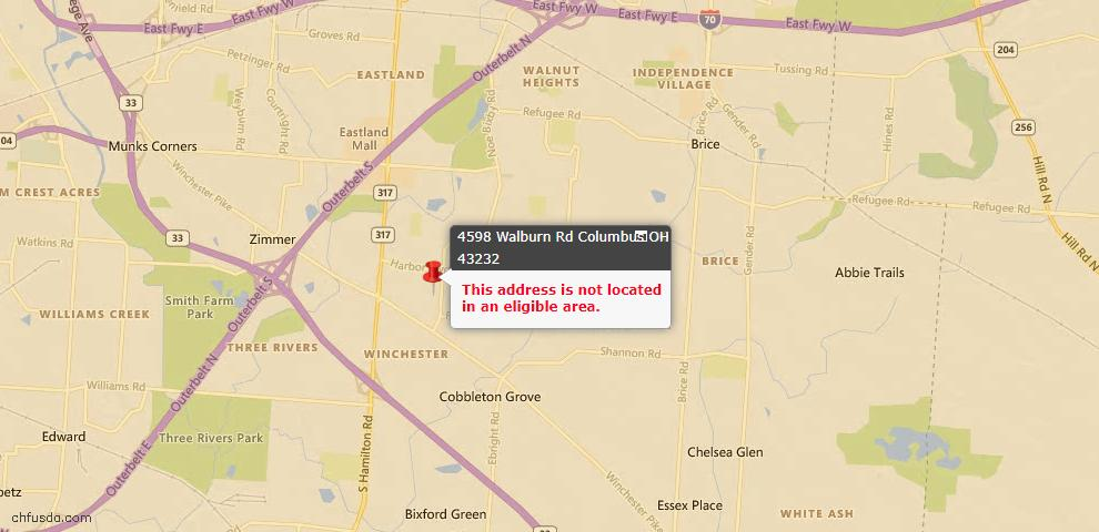 USDA Loan Eligiblity Maps From - 43232, OH