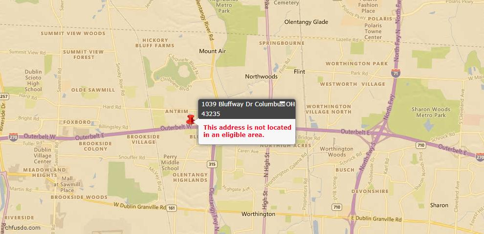 USDA Loan Eligiblity Map - 1039 Bluffway Dr, Columbus, OH 43235
