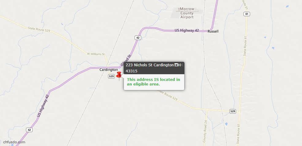 USDA Loan Eligiblity Maps From - Cardington, OH