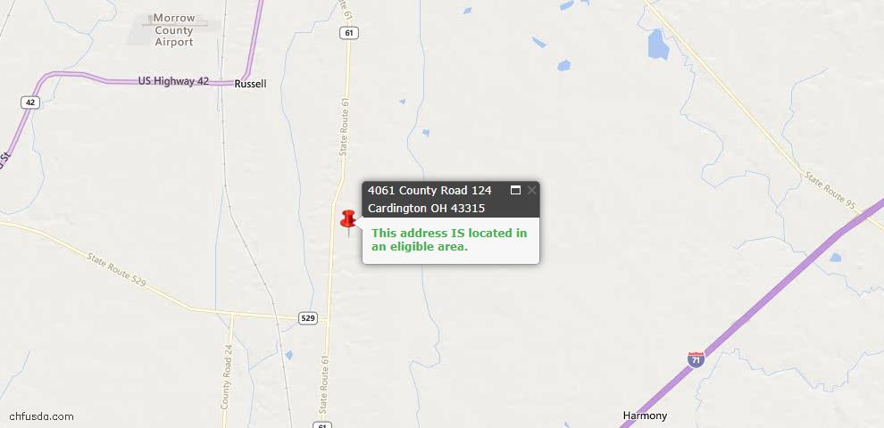 USDA Loan Eligiblity Maps From - Morrow County, OH