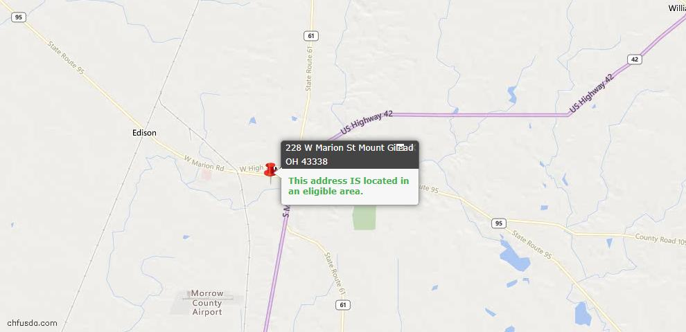 USDA Loan Eligiblity Maps From - Mount Gilead, OH