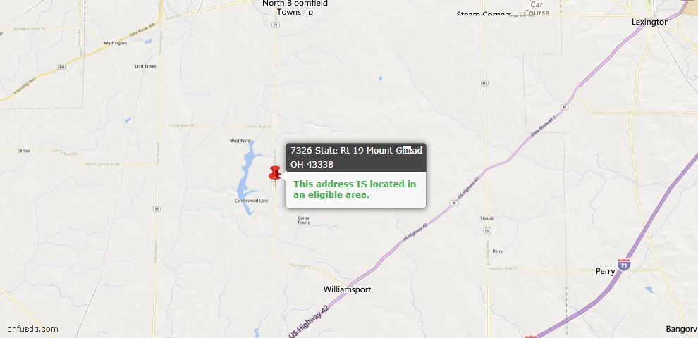 USDA Loan Eligiblity Map - 7326 Sr. Rt. 19, Mount Gilead, OH 43338