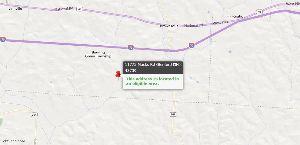 USDA Loan Eligiblity Maps From - Glenford, OH