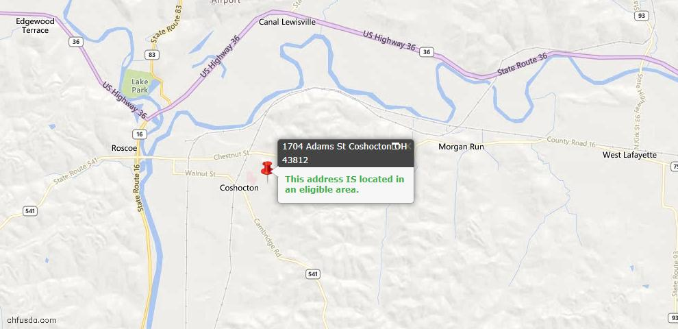 USDA Loan Eligiblity Maps From - Coshocton, OH