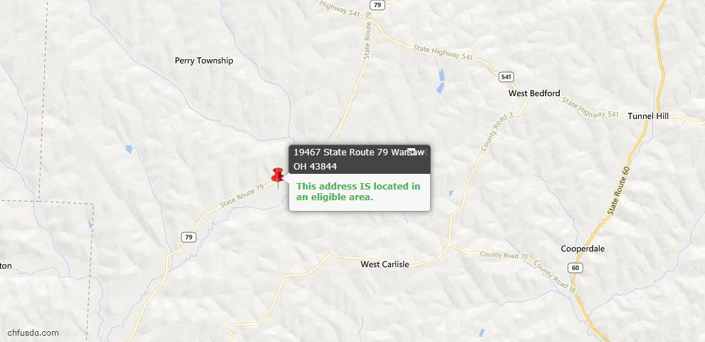 USDA Loan Eligiblity Maps From - Warsaw, OH