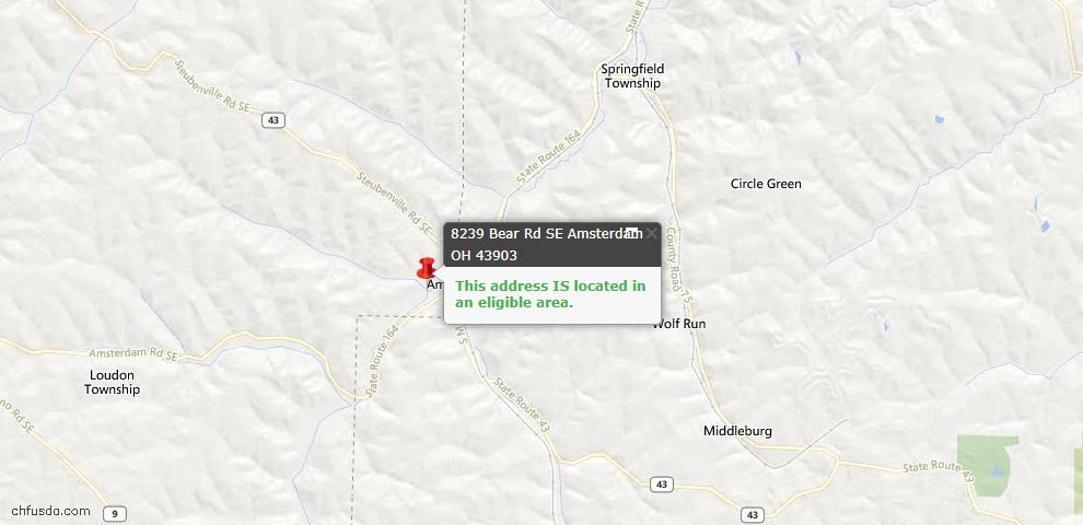 USDA Loan Eligiblity Maps From - Amsterdam, OH