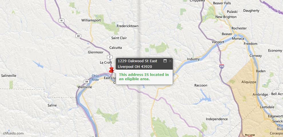 USDA Loan Eligiblity Map - 1229 Oakwood St, East Liverpool, OH 43920