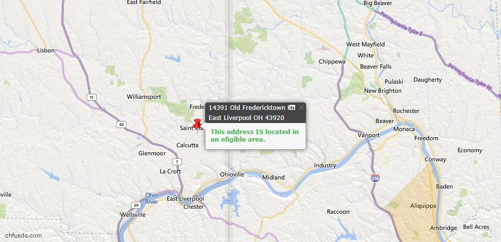 USDA Loan Eligiblity Map - 14391 Old Fredericktown Rd, East Liverpool, OH 43920