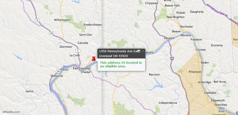 USDA Loan Eligiblity Map - 1450 Pennsylvania Ave, East Liverpool, OH 43920