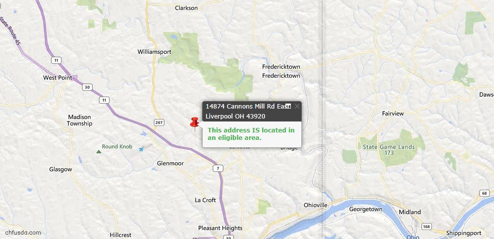 USDA Loan Eligiblity Map - 14874 Cannons Mill Rd, East Liverpool, OH 43920