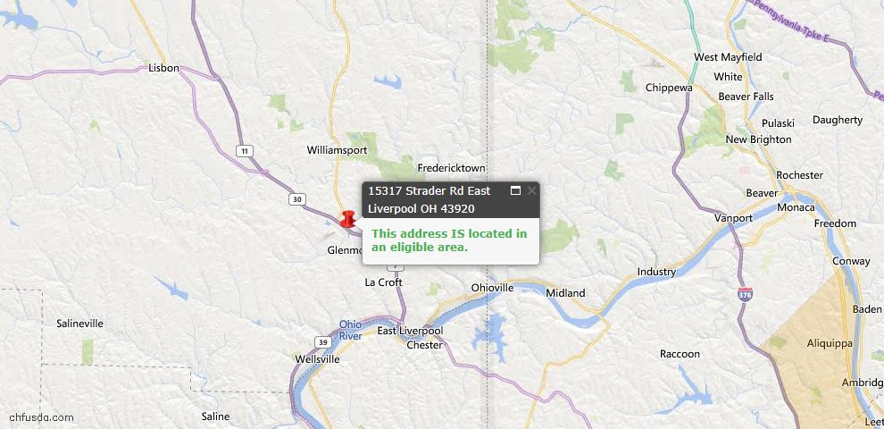 USDA Loan Eligiblity Map - 15317 Strader Rd, East Liverpool, OH 43920