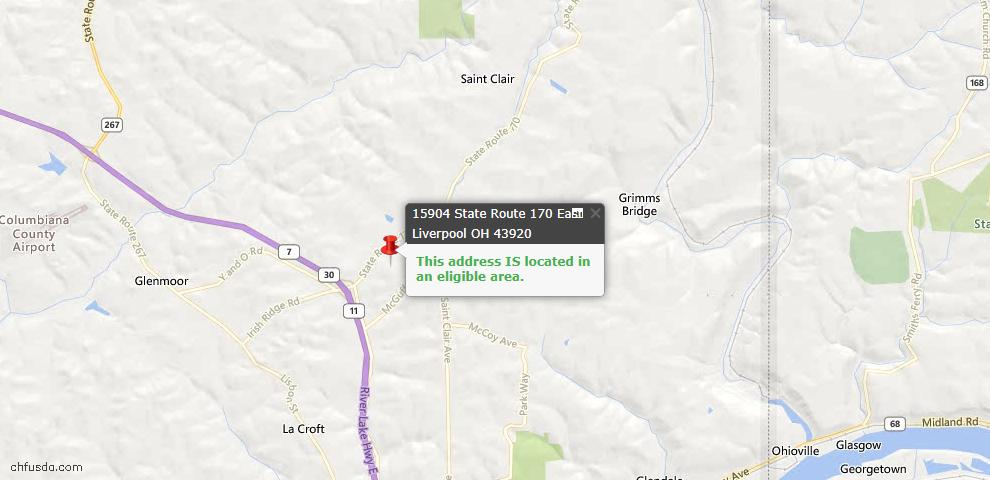 USDA Loan Eligiblity Map - 15904 State Route 170, East Liverpool, OH 43920
