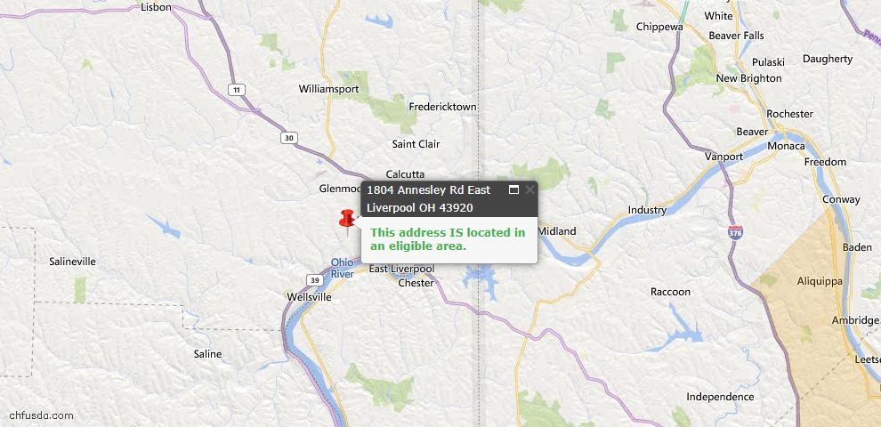 USDA Loan Eligiblity Map - 1804 Annesley Rd, East Liverpool, OH 43920