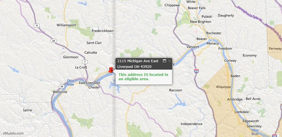 USDA Loan Eligiblity Map - 2115 Michigan Ave, East Liverpool, OH 43920