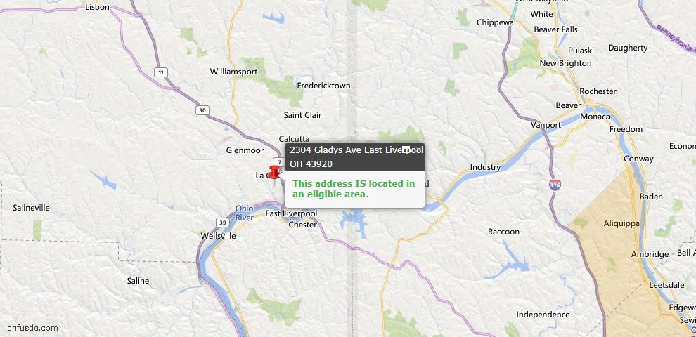 USDA Loan Eligiblity Map - 2304 Gladys Ave, East Liverpool, OH 43920