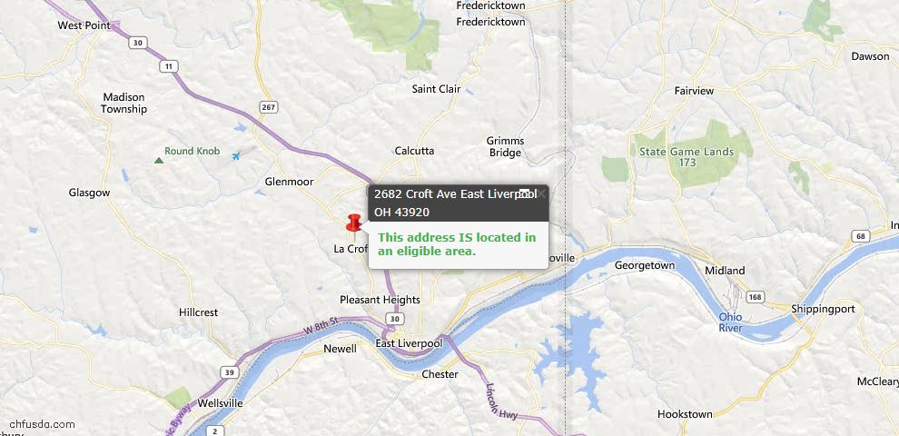 USDA Loan Eligiblity Map - 2682 Croft Ave, East Liverpool, OH 43920