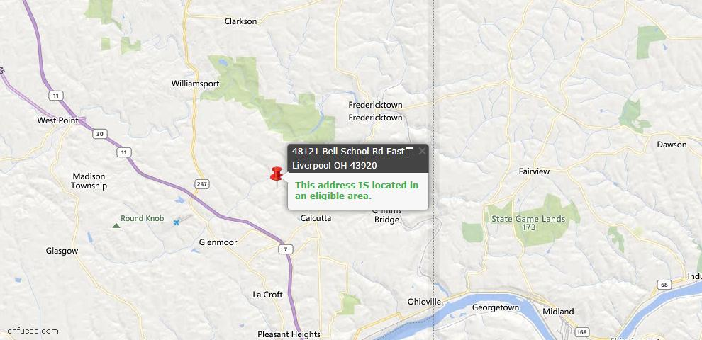USDA Loan Eligiblity Map - 48121 Bell School Rd, East Liverpool, OH 43920