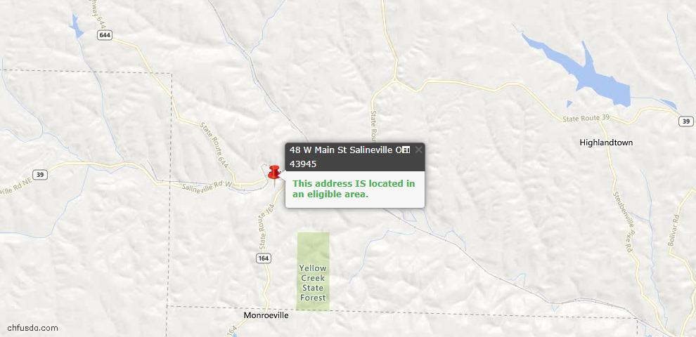 USDA Loan Eligiblity Maps From - Salineville, OH