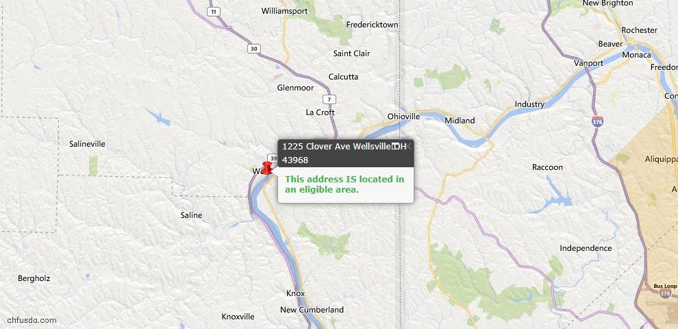 USDA Loan Eligiblity Map - 1225 Clover Ave, Wellsville, OH 43968
