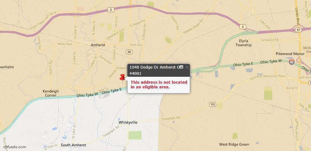 USDA Loan Eligiblity Map - 1048 Dodge Dr, Amherst, OH 44001