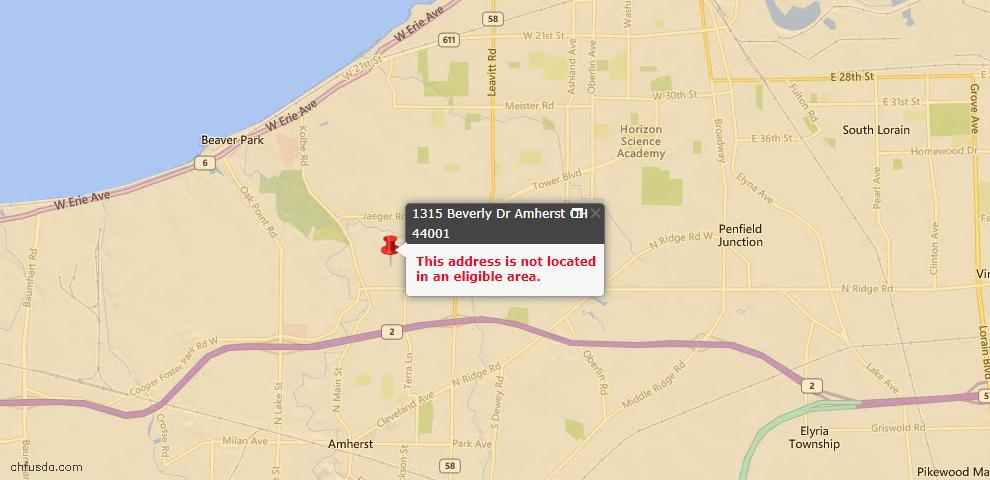 USDA Loan Eligiblity Maps From - Amherst, OH