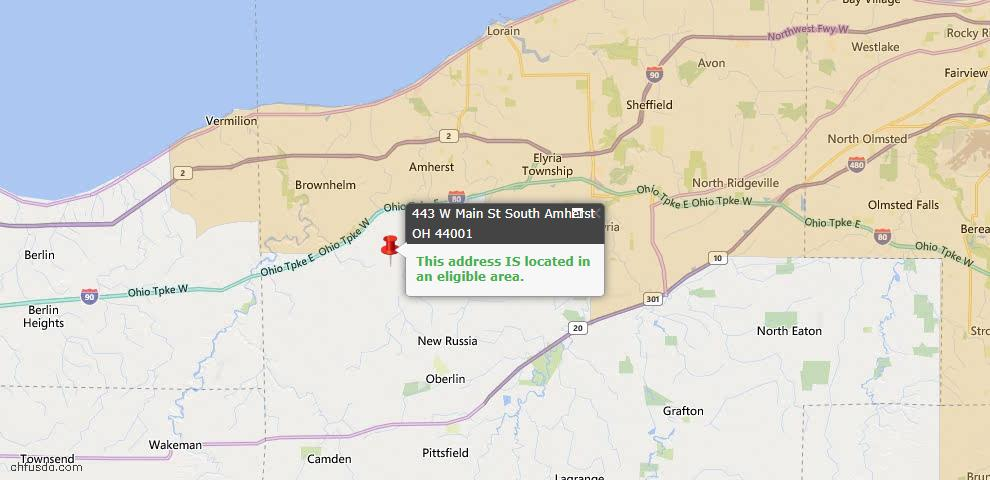 USDA Loan Eligiblity Map - 443 W Main, South Amherst, OH 44001
