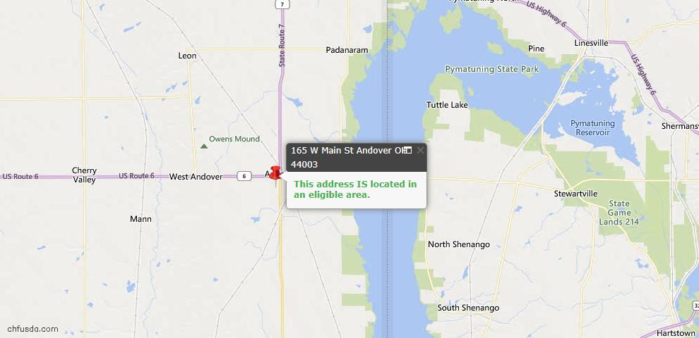 USDA Loan Eligiblity Map - 165 W Main St, Andover, OH 44003