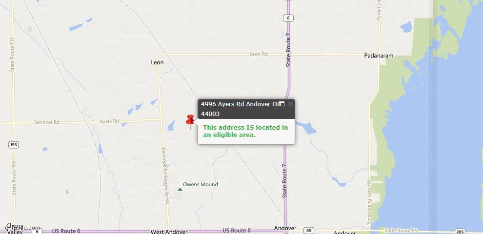 USDA Loan Eligiblity Map - 4996 Ayers Rd, Andover, OH 44003