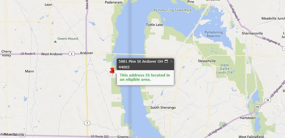 USDA Loan Eligiblity Map - 5881 Pine, Andover, OH 44003