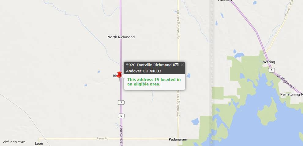 USDA Loan Eligiblity Maps From - Andover, OH