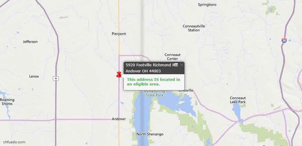 USDA Loan Eligiblity Map - 5920 Footville Richmond Rd, Andover, OH 44003