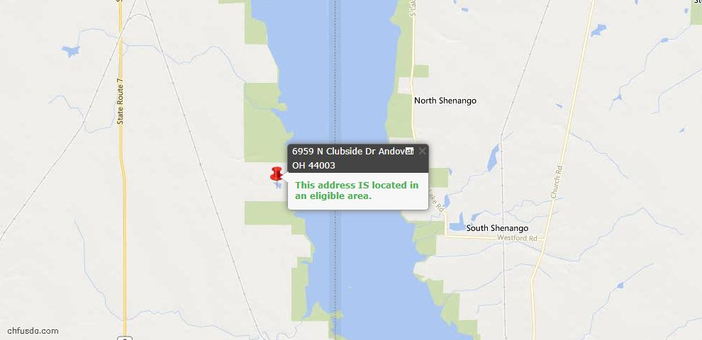 USDA Loan Eligiblity Map - 6959 N Clubside Dr, Andover, OH 44003