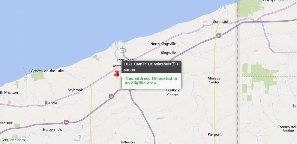 USDA Loan Eligiblity Map - 1021 Hamlin Dr, Ashtabula, OH 44004