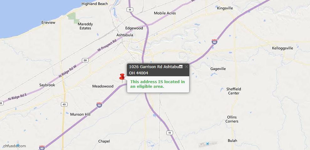 USDA Loan Eligiblity Map - 1026 Garrison Rd, Ashtabula, OH 44004