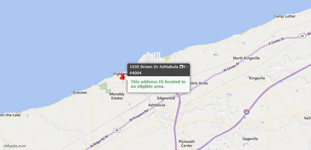 USDA Loan Eligiblity Map - 1030 Brown Dr, Ashtabula, OH 44004