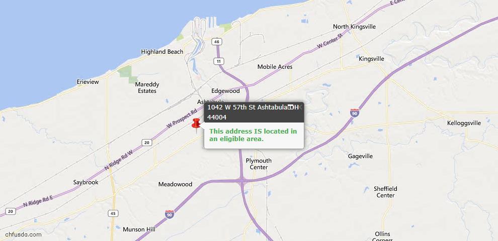 USDA Loan Eligiblity Map - 1042 W 57th St, Ashtabula, OH 44004