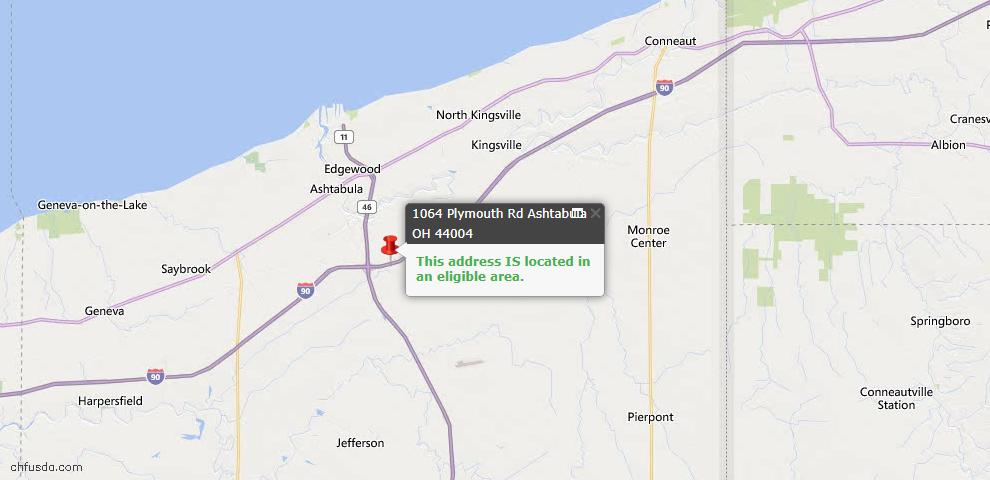 USDA Loan Eligiblity Map - 1064 Plymouth Rd, Ashtabula, OH 44004